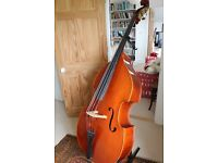 Stentor conservatoire Double Bass 3/4 full carved, Ebony fingerboard beautiful sound