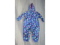 Boys Bluezoo (Debenhams) All in One Waterproof/Puddle suit Age 2-3 - robot print