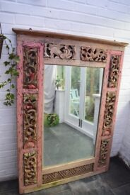 19th C Antique Beautifully Ornate Carved Wood Indonesian Large Mirror Hallway