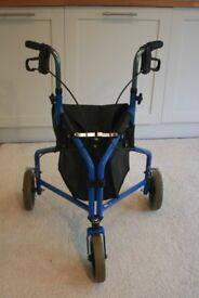 BLUE DMA 3 WHEEL WALKING FRAME WITH SHOPPING BAG ATTACHED