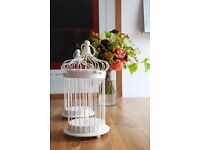 6 Decorative Off-White Birdcage Centrepieces - Brand New