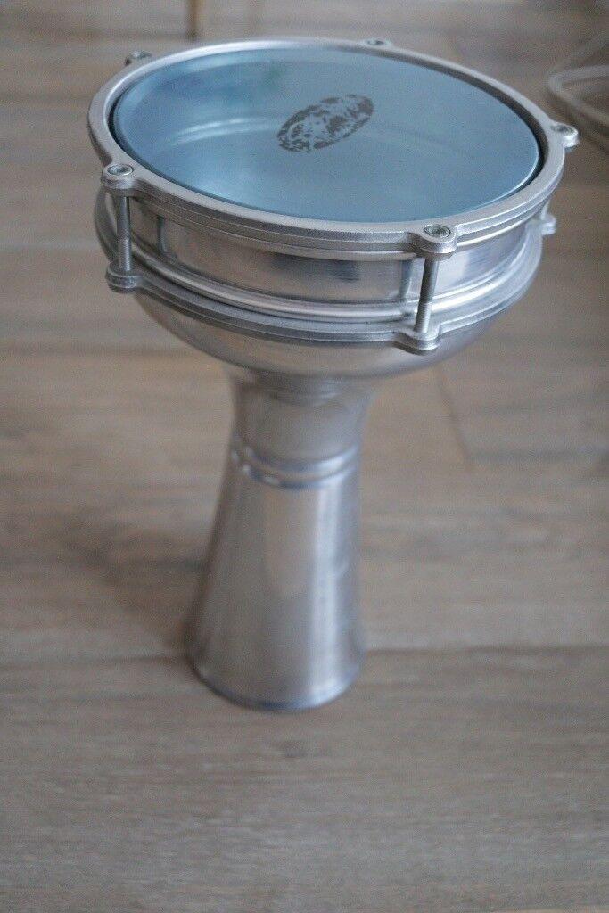 Stagg aluminium Darbuka hand drum with case