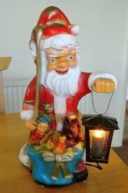 Vintage Father Christmas 'Gnome' with Electric Lantern
