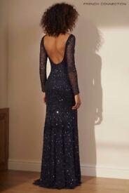 French Connection Dark Blue Helen sparkle dress full length/long sleeve size 12