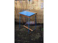 Retro School Desk Blue/Wood/Metal