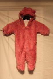 Cute Baby Girls Cuddly Teddy Bear All-in-one suit by NEXT in beautiful  Rose Pink. 3/6 months