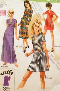 Misses-Jiffy-Dress-Sewing-Pattern-1970-3-Lengths-Size-10-Vintage-TIE-BELT-GONE