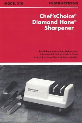 Chef's Choice Diamond Hone Sharpener Model 310 Manual Instructions Chef'sChoice