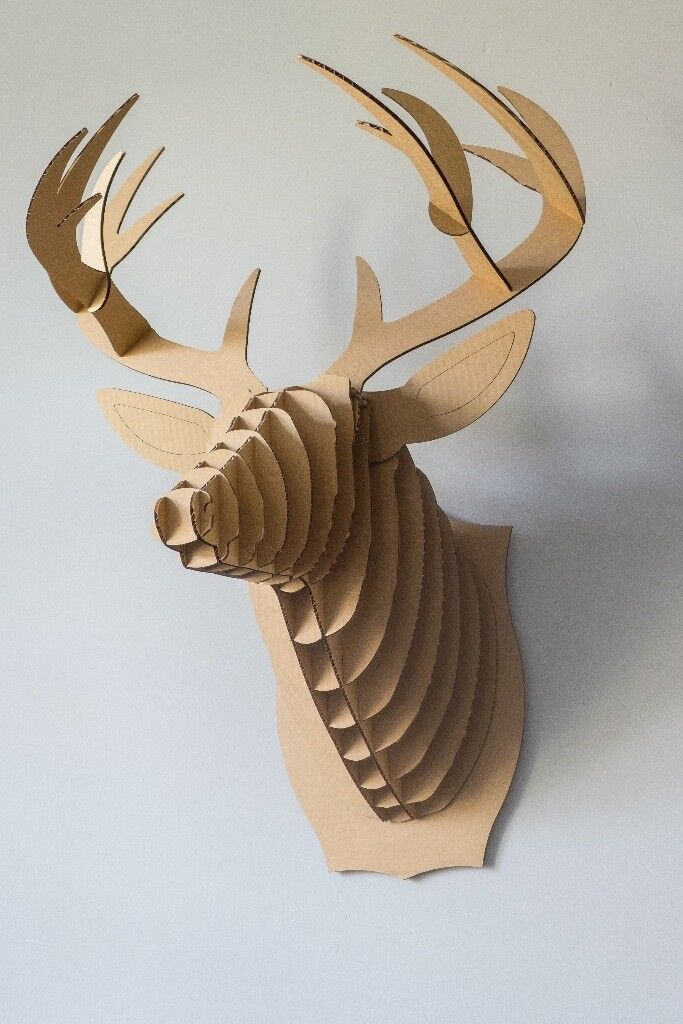 Large Cardboard Safari Stag Trophy Head Buck The Deer Brown Christmas Decoration