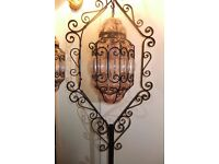 Vintage Black wrought iron, with pink dome of glass,stunning 6f lamp Delivered small charge Locally