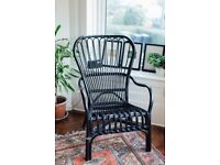 IKEA STORSELE High-back armchair, black, rattan - chair - conservatory - patio - indoor