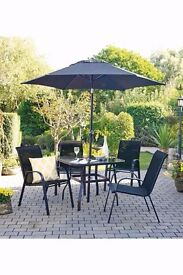 BRAND NEW 6-Piece 6 PC 4 Stacking Chairs Table and Parasol Garden Patio Dining Set
