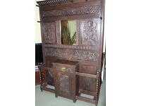 A Victorian large carved oak hall stand