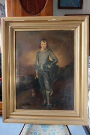 Large Antique The Blue Boy oil on canvas painting after Thomas Gainsborough