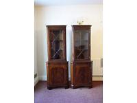 A pair of Dark Wood Veneer, Corner Cabinets for display or storage