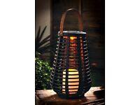 Tall Rattan Effect Basket Solar Light