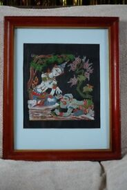 Vintage Indian Ramayana Tapestry - Sika and Hanuman