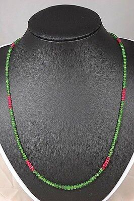CHROMDIOPSID RUBIN 45,175ct. Kette Collier Edelstein Heilstein Schmuck Halskette