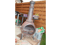 Cast Iron Chiminea Patio Heater and BBQ in one