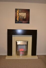 Dark wood effect fireplace - great condition