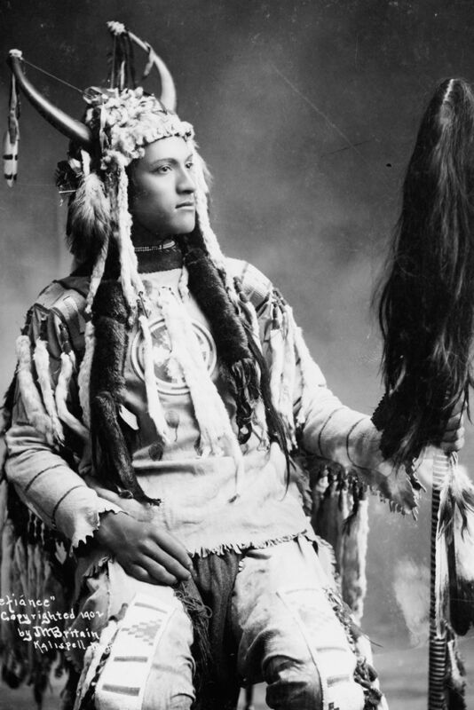 New 5x7 Native American Photo: Defiance, North American Indian in Native Dress