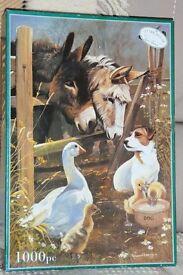 "1000 piece Jigsaw ""Animal Farm"" by Pollyanna Pickering, Donkeys, Dog, Goose & Goslings, Histon"