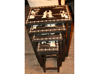 Black mother of pearl Chinese set of nested tables