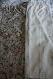 Floral curtains and matching voiles to fit window approx 3m length and 2m height
