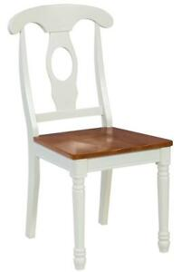 Six Sturdy Dining Chair In Oak And White