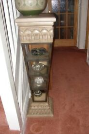PLANT STAND BEIGE CERAMIC AND METAL TAPERED 4 GLASS SHELVES