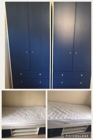 2x kids white & dark blue bedroom furniture sets