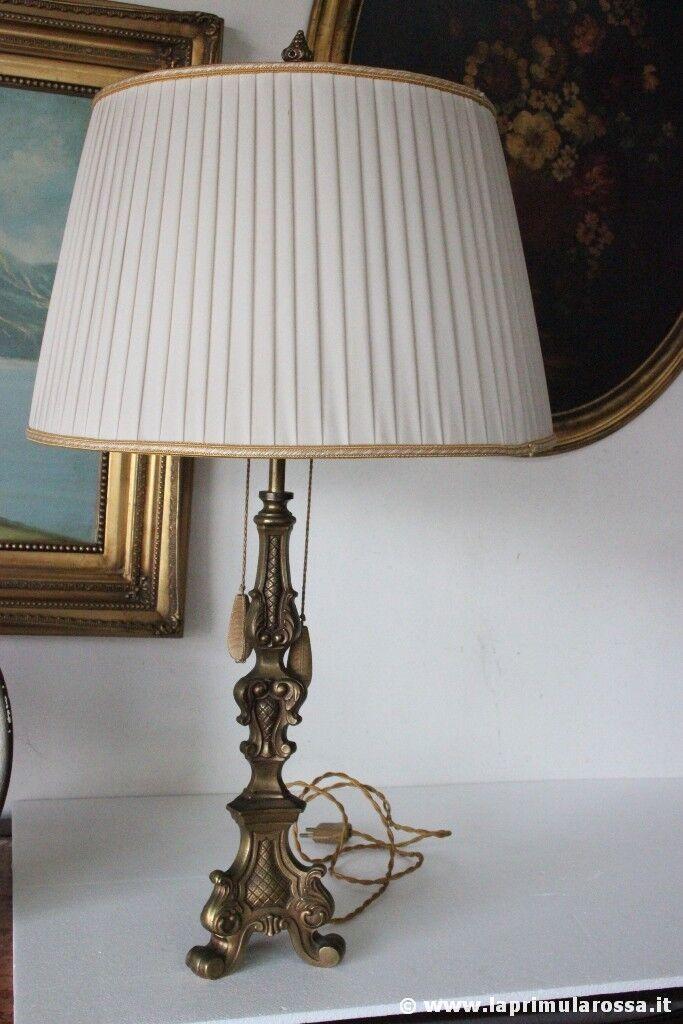 PREZIOSA LAMPADA D'EPOCA BASE CANDELIERE OTTONE h cm 73 - VECCHIO LUME DA TAVOLO
