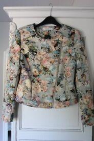 Womens Luxury Floral Biker Style Jacket Size 10
