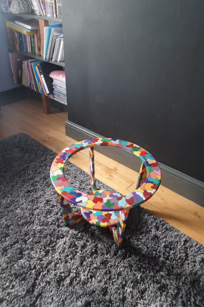 Hand painted scandinavian style round coffee table frame.