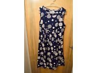 Navy blue long dress with white pattern, never worn, size 12 Seatouch