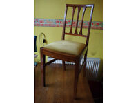 Four oak dining chairs for restoration (not re-upholstering); vintage, old.