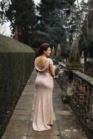 Sorella Vita Bridesmaid Dress. Rose Gold Sequin. Size 12. Evening Gown. Maxi dress.