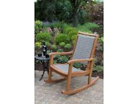 Home Decor Solid Wood Antique Eucalyptus Rocker Wicker Outdoor Rocking Chair