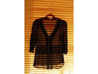 Monsoon black sheer V neck blouse size 8