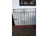 Vintage Wrought Iron Garden Gate from 1920s, 120cms high x 104cms wide. Good condition, Very heavy.