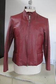 Leather Jacket, Ladies, bordeaux red, size 42