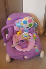 Chicco balloon baby bouncer in lilac, also Fisher Price Jumparoo in Petal Pink.