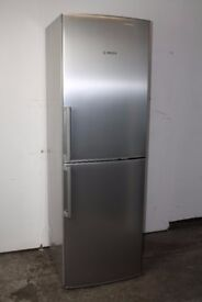 Bosch Fridge Freezer Brushed Steel Finish 186cm Height Excellent Condition 6 Month Warranty