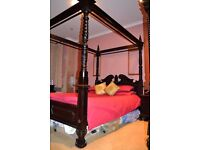 Queen Anne style four poster bed with side tables in Mahogany finish