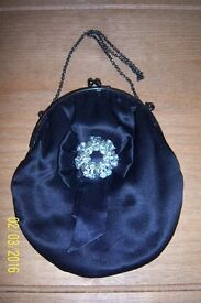 DEBENHAMS BLACK SILK EVENING BAG