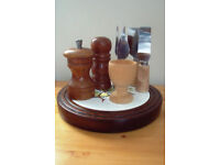 Wood egg cup,salt-pepper pot-grinder,4 cheese implements,trivet-cheese board-wall plaque.£4 ovno lot