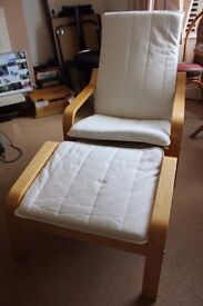 Ikea Cream Chair & Footstool - POANG