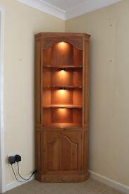 Full length triangular wood display cabinet