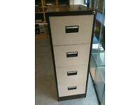 METAL CREAM AND BROWN 4 DRAW FILING CABINET