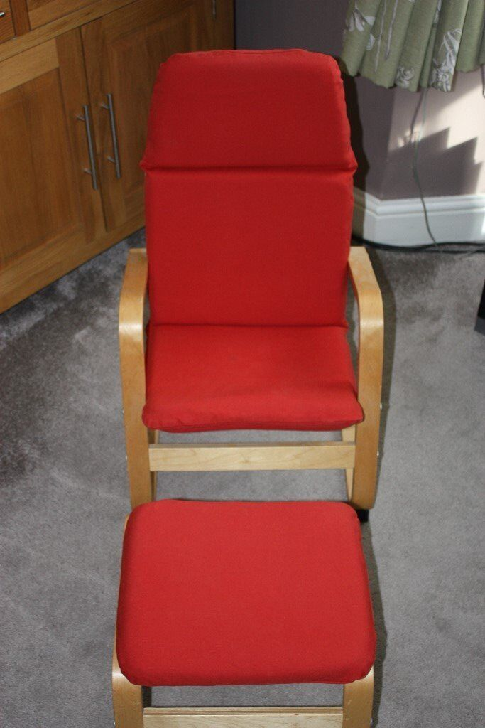 IKEA POANG Childrens Birch Chair Armchair & Foot Stool with Red Fabric Cushion
